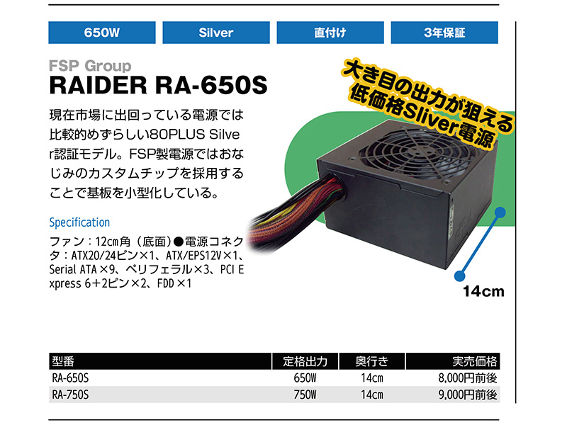 <b>FSP Group<br>RAIDER RA-650S</b>など