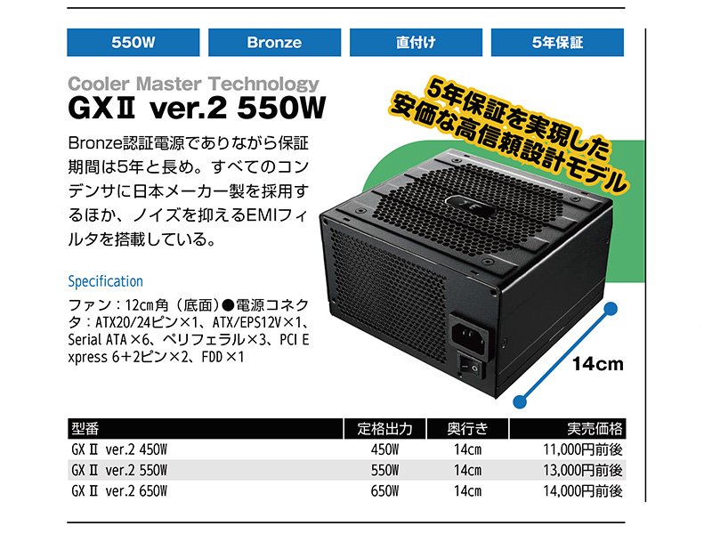 <b>Cooler Master Technology<br>GXII ver.2 550W</b>など