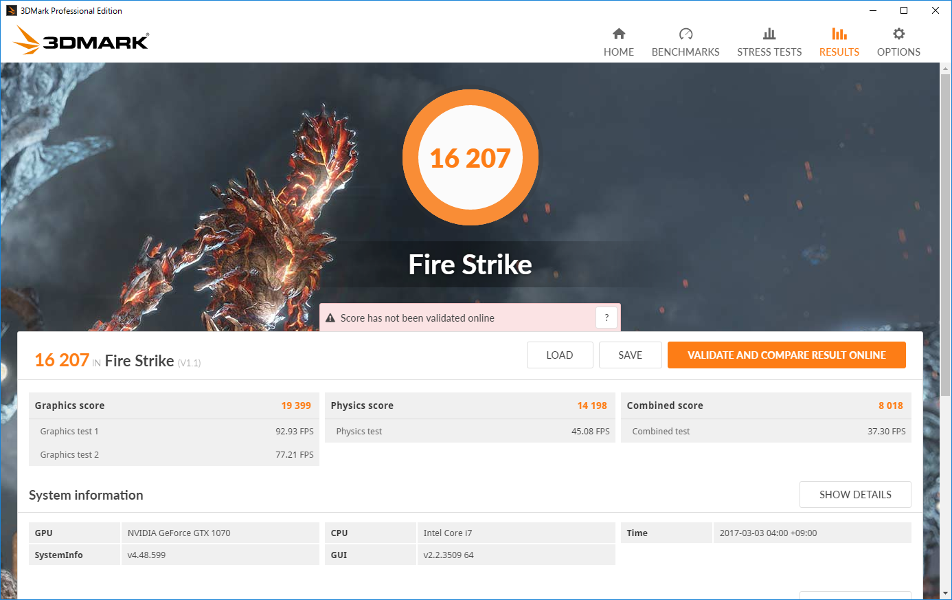 GeForce GTX 1070 GAMING X 8Gの3DMARK Fire STrikeのスコアは16,207、GeForce GTX 1060モデル比で約4割増し。
