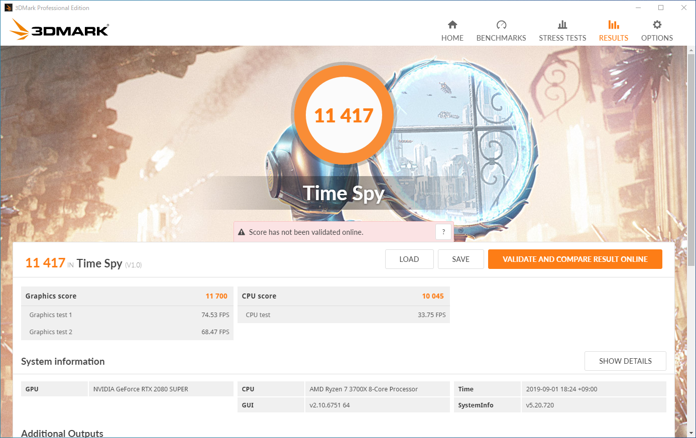 3Dベンチマーク「3DMark:Time Spy」の実行結果。