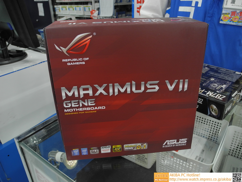 "「<a class="""" href=""http://www.asus.com/jp/Motherboards/MAXIMUS_VII_GENE/overview/"">MAXIMUS VII GENE</a>」<br class="""">9シリーズR.O.G.では現在唯一のmicroATXモデル。実売価格は25,000円前後"